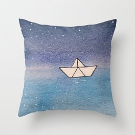 P'tit bateau de papier / Little paper boat Throw Pillow
