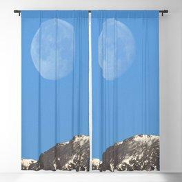 Watercolor Landscape Winter Moonset over the Rocky Mountains, Estes Park, CO Blackout Curtain