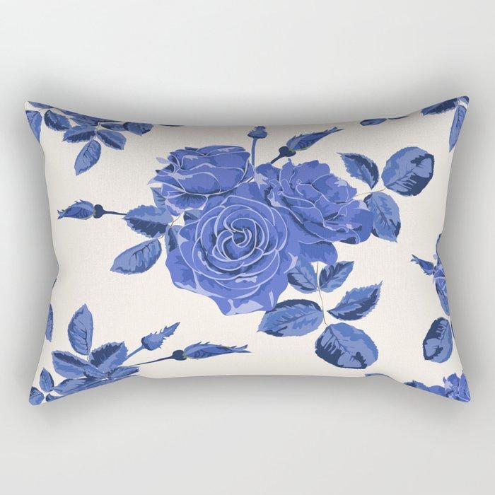 Seamless blue roses pattern Rectangular Pillow