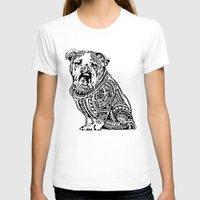 english bulldog T-shirts featuring Polynesian English Bulldog by Huebucket