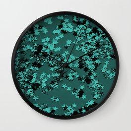 Turquoise Glitter Stars #1 #shiny #decor #art #society6 Wall Clock