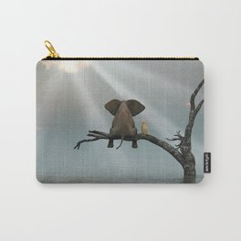 elephant and dog sit on a tree during a flood Carry-All Pouch