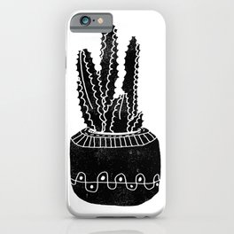 Cactus houseplant linocut cacti desert southwest black and white office home art products iPhone Case
