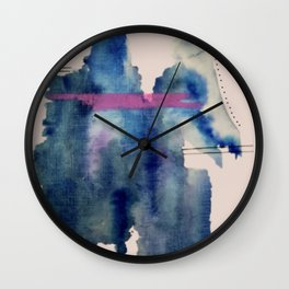 Pour: a blue and purple abstract watercolor Wall Clock