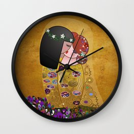 Kokeshis Lesbians The kiss of Klimt Wall Clock