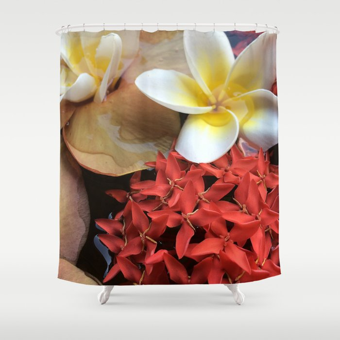 Frangipani & Ixora Shower Curtain