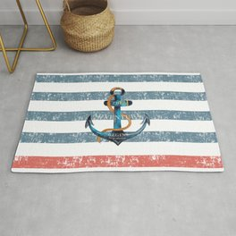 Maritime Design - Nautic Anchor on stripes in blue and red Rug