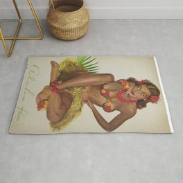 Hawaiian Hula Maiden Vintage Travel Poster Rug