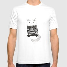 Cat with pattern  MEDIUM Mens Fitted Tee White