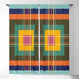 Fine Lines on Retro Colored Squares Blackout Curtain