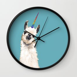 Unicorn Llama Blue Wall Clock