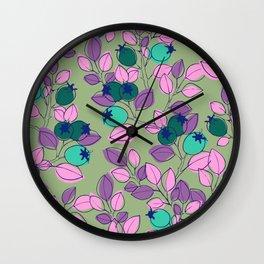 Purple Rosehips Wall Clock