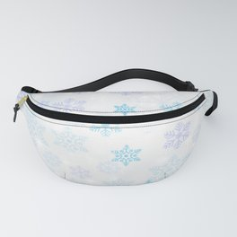 Christmas Winter Snowflakes Silver Blue Pattern Fanny Pack