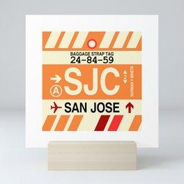 SJC San Jose • Airport Code and Vintage Baggage Tag Design Mini Art Print