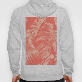 Living Coral Tropical Palm Leaves Monstera Hoody