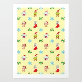 Teddy, mouse elf and snowman Christmas pattern Art Print