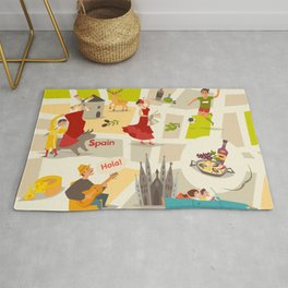 Abstract Spain vector map. Illustrated map of Spain for children/ Rug