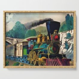 1870 Currier & Ives Steam Locomotive - The Express Train Lithograph Serving Tray