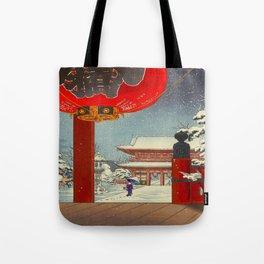 Tsuchiya Koitsu A Winter Day at The Temple Asakusa Vintage Japanese Woodblock Print Tote Bag