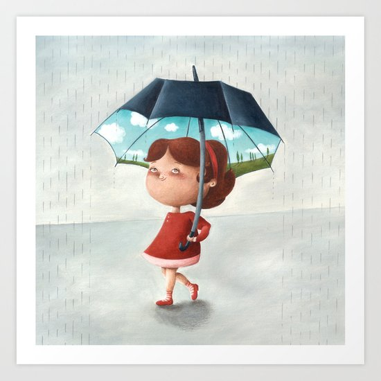 Happy umbrella Art Print