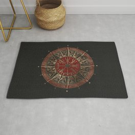 Vegvisir - Viking Compass - Black and red Leather and gold Rug