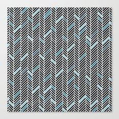 Herringbone Black and Blue Canvas Print