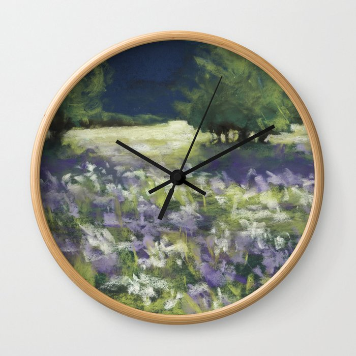 Fields of White and Purple Wall Clock