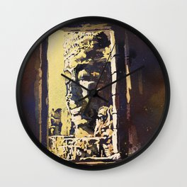 Temple of the Bayon at Angkor Wat ruins- Siem Reap, Cambodia Wall Clock