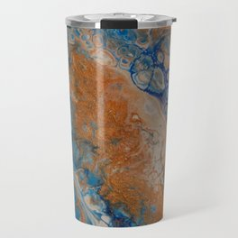 Lapis & Gold Veins - Abstract Acrylic Art By Fluid Nature Travel Mug