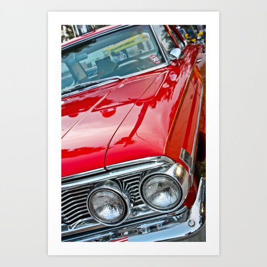 Red Ford Custom 500 Galaxie Police Car Art Print