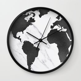 Marble World Map Black and White Wall Clock