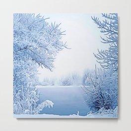 New England Winter Landscape by Jeanpaul Ferro Metal Print