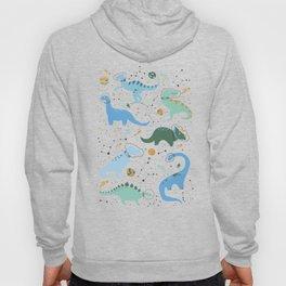 Dinosaurs in Space in Blue Hoody