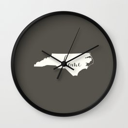 North Carolina is Home - White on Charcoal Wall Clock