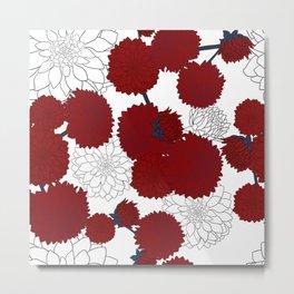 Red white dahlia Metal Print