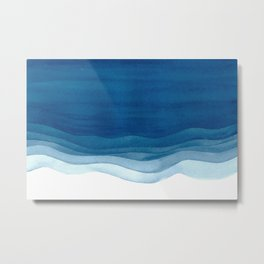 Watercolor blue waves Metal Print
