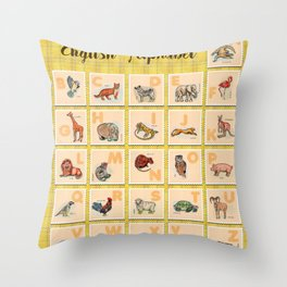 hand drawn animals poster for all English letters Throw Pillow