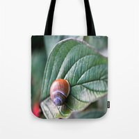 snail Tote Bags featuring snail by  Agostino Lo Coco