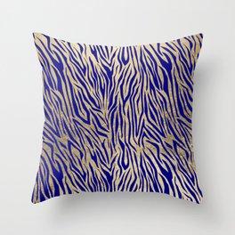 Modern Elegant Navy Blue Gold Zebra Animal Print Pattern Throw Pillow