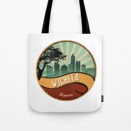 Wichita City Skyline Kansas Retro Vintage Design Tote Bag