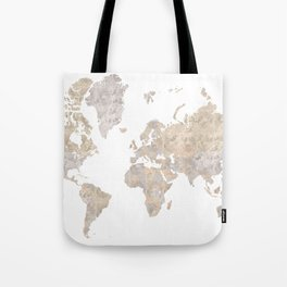 """World map in gray and brown watercolor """"Abey"""" Tote Bag"""