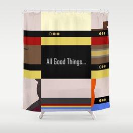 TNG - All Good Things - Minimalist Star Trek TNG The Next Generation 1701 D  startrek  Trektangles Shower Curtain