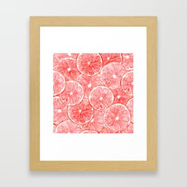 Watercolor grapefruit slices pattern Framed Art Print