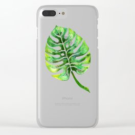 Monstera Green Leaf Clear iPhone Case