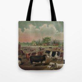 Vintage Livestock Farm Painting (1887) Tote Bag
