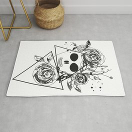 Abstract rose silhouette. Skull. Triangle geometric rose Rug