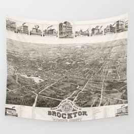 Vintage Pictorial Map of Brockton MA (1882) Wall Tapestry