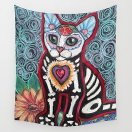 Day of the Dead Cat Wall Tapestry