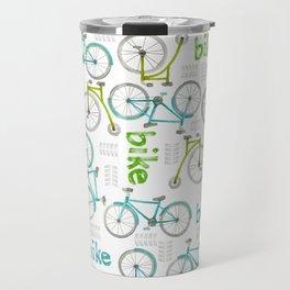 Watercolor Blue and Green Bikes Travel Mug