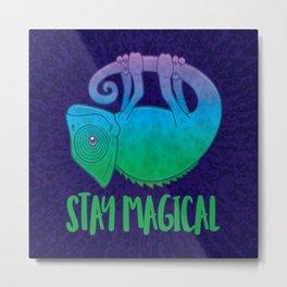 Stay Magical Levitating Chameleon Metal Print